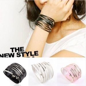 Multilayer White Leather Wrap Cuff Bracelet